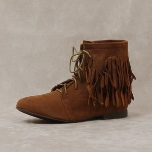 Shoes - Dark Tan Faux Suede Fringe Ankle Bootie Boot